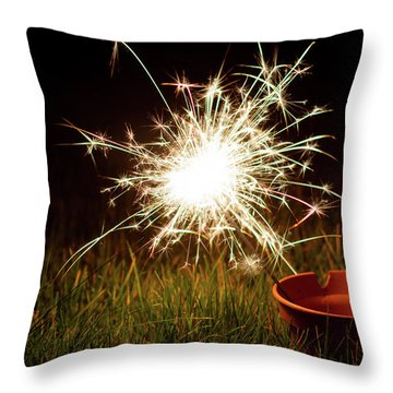 Throw Pillow featuring the photograph Sparkler In A Plant Pot by Scott Lyons