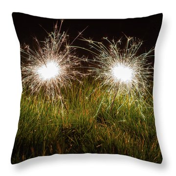 Throw Pillow featuring the photograph Sparklers In The Grass by Scott Lyons