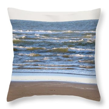 Sparkling Waves With Beach Throw Pillow