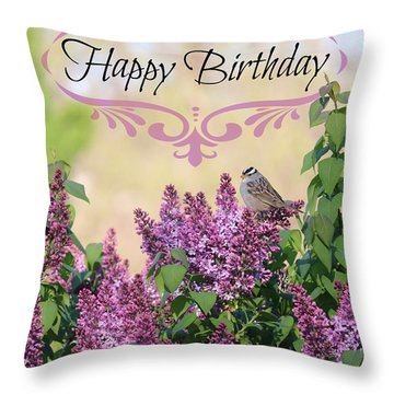 Sparrow In Lilacs Birthday Card Throw Pillow