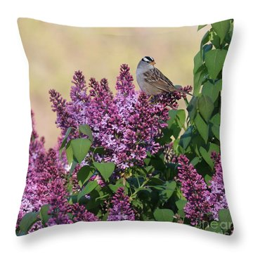 Sparrow In The Lilacs Throw Pillow