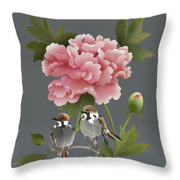 Sparrows And Peony Throw Pillow
