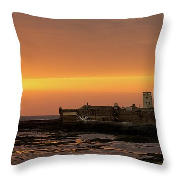 Throw Pillow featuring the photograph Spectacular Sunset On Saint Sebastian Castle Cadiz Spain by Pablo Avanzini