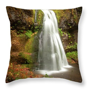 Throw Pillow featuring the photograph Spirit Falls Vertical Version by Lara Ellis