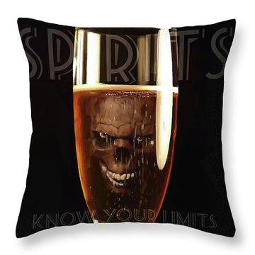 Throw Pillow featuring the digital art Spirits - Know Your Limits by ISAW Company