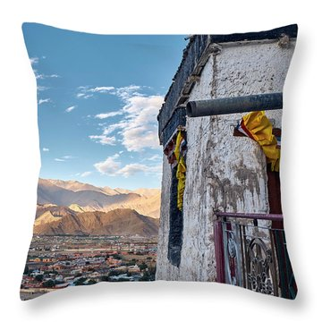 Throw Pillow featuring the photograph Spituk Gompa by Whitney Goodey
