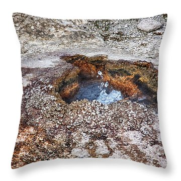 Throw Pillow featuring the photograph Splashing Hot Water Drops In Yellowstone by Tatiana Travelways