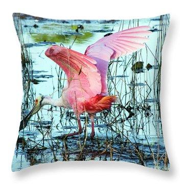 Spoonbill Landing Throw Pillow