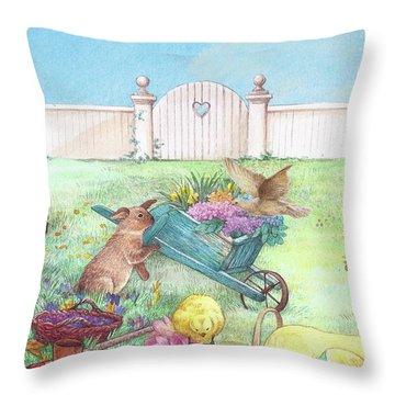 Spring Bunnies, Chick, Birds Throw Pillow