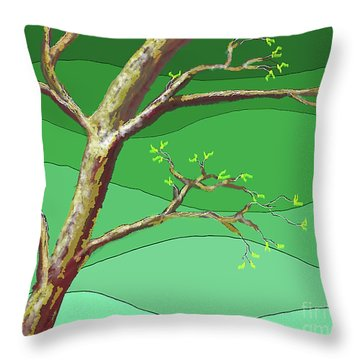 Spring Errupts In Green Throw Pillow