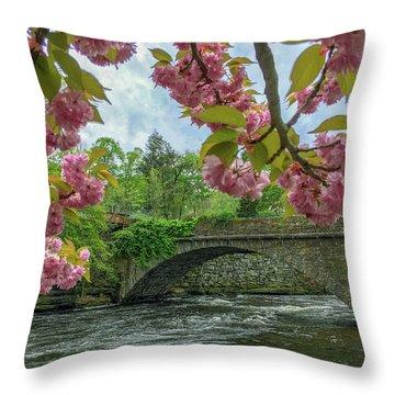 Spring Garden On The Bridge  Throw Pillow