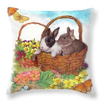 Spring Garden With Bunnies, Butterfly Throw Pillow