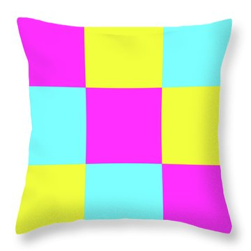 Throw Pillow featuring the photograph Squares Of Cyan And Yellow And Magenta by Bill Swartwout Fine Art Photography