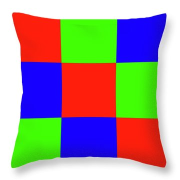 Throw Pillow featuring the digital art Squares Of Red And Blue And Green by Bill Swartwout Fine Art Photography