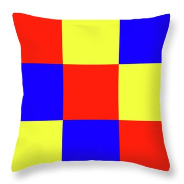 Throw Pillow featuring the digital art Squares Of Red And Yellow And Blue by Bill Swartwout Fine Art Photography