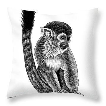 Squirrel Monkey - Ink Illustration Throw Pillow