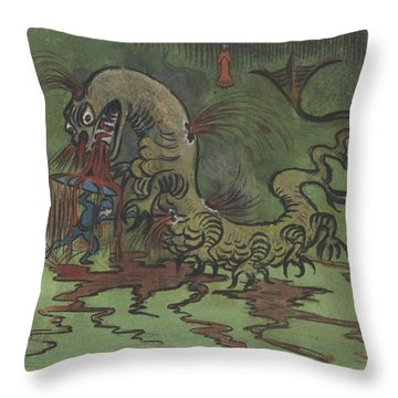 Throw Pillow featuring the drawing St. Goran And The Dragon by Ivar Arosenius