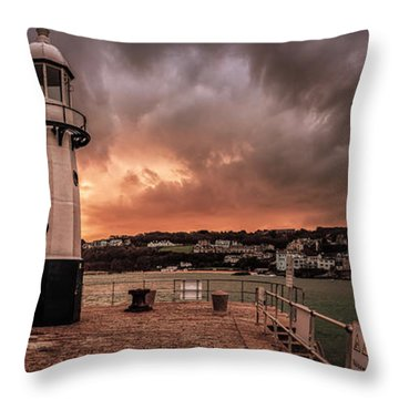 St Ives Cornwall - Lighthouse Sunset Throw Pillow