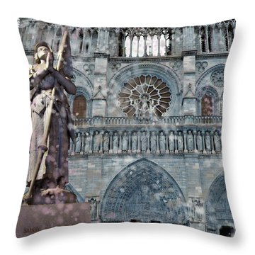 St Joan Of Arc Watch Over Notre Dame Throw Pillow