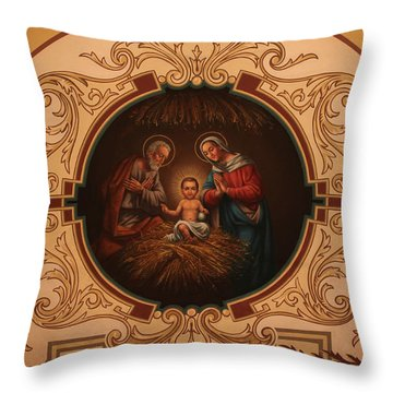 St. Louis Cathedral Nativity Scene Throw Pillow