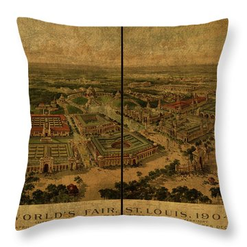 St Louis Missouri Worlds Fair Vintage City Street Map 1904 Throw Pillow