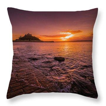 St Michael's Mount - January Sunset Throw Pillow