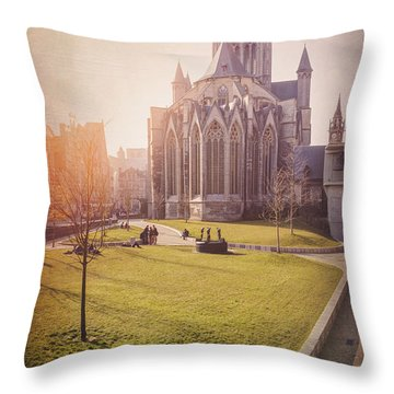 St Nicholas Church Ghent Belgium  Throw Pillow