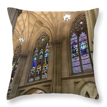 St Patricks Stained Glass Throw Pillow