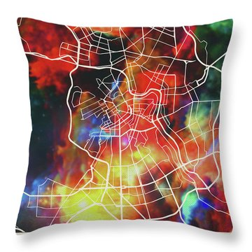 St Petersburg Russia Watercolor City Street Map Throw Pillow