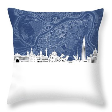 St Petersburg Skyline Map Blue Throw Pillow