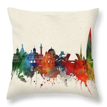 St Petersburg Skyline Watercolor Throw Pillow