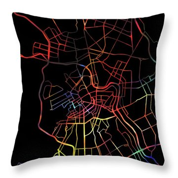 St Petersburg Watercolor City Street Map Dark Mode Throw Pillow