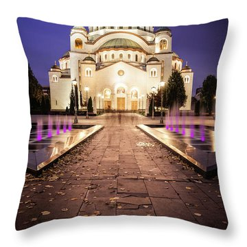 St. Sava Temple In Belgrade Nightscape Throw Pillow