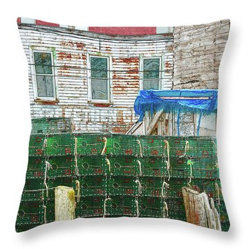 Stacked Lobster Traps Throw Pillow