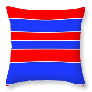 Stacked - Red, White And Blue Throw Pillow