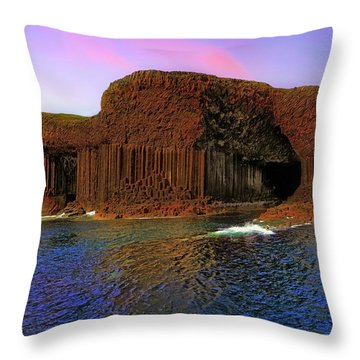 Staffa And Fingal's Cave - Scotland - Sunset Throw Pillow