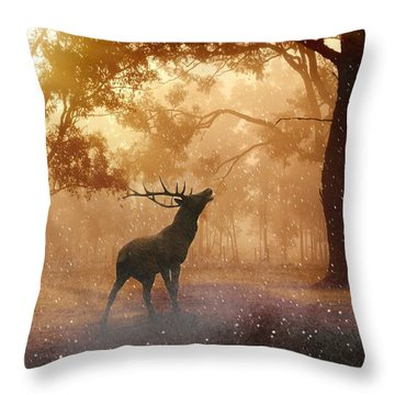 Stag In The Forest Throw Pillow