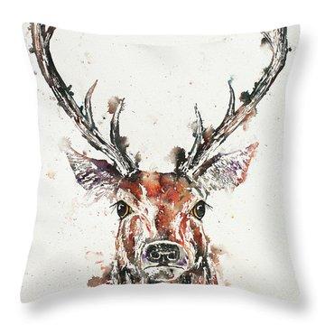 Stag Portrait Throw Pillow