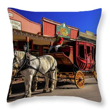 Stagecoach, Tombstone Throw Pillow