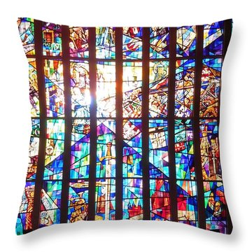 Stained Glass Historical Our Lady Of Czestechowa Shrine Throw Pillow
