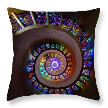 Stained Glass Spiral Throw Pillow