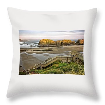 Stairs To The Beach Throw Pillow