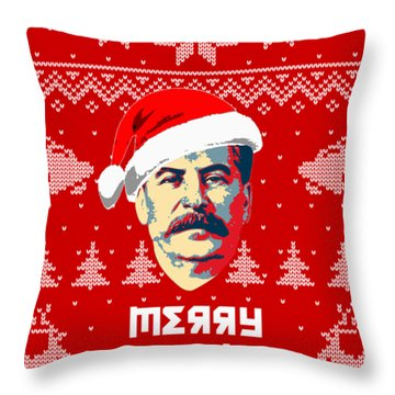 Stalin Merry Christmas Russian Letters Throw Pillow