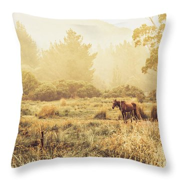 Stallion Homestead Throw Pillow