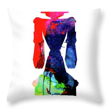 Star Droid Watercolor 5 Throw Pillow