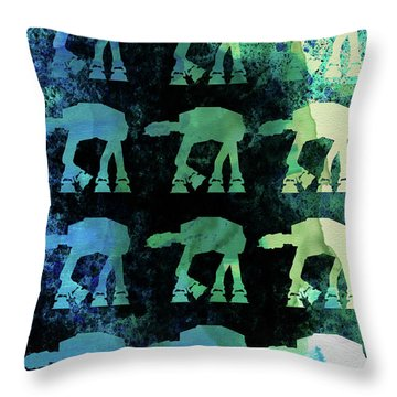 Star Ground Warrior Collage Watercolor 2 Throw Pillow