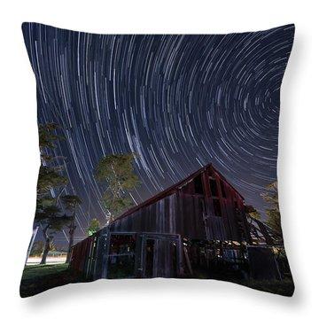Star Trails Over Bonetti Ranch Throw Pillow