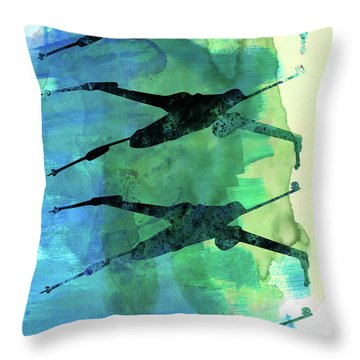 Star Warrior X-wing Watercolor 1 Throw Pillow