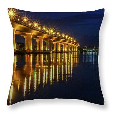 Starburst Bridge Reflection Throw Pillow