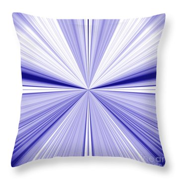 Starburst Light Beams In Blue And White Abstract Design - Plb455 Throw Pillow